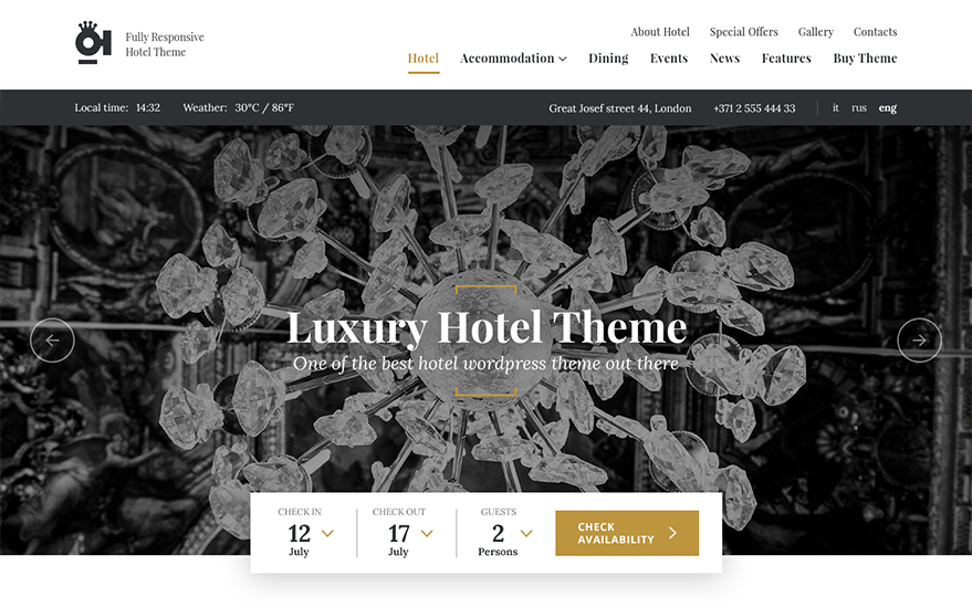 Oi Hotel : WordPress theme development